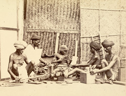 Group of carpenters at work, Madras